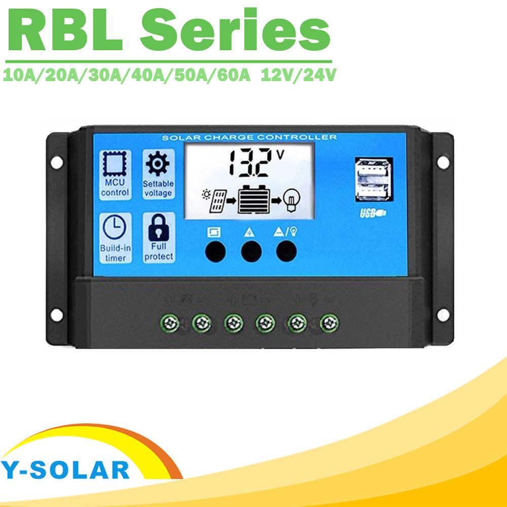 Télécommande solaire PWM 60A 50A 40A 30A 20A 10A | Contrôleur de Charge et décharge solaire 12V 24V, régulateur automatique LCD avec double USB 5V, nouveau