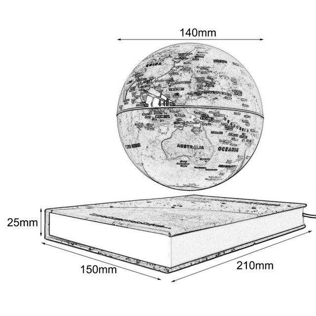 """6 """"Magnétique Tournant Globe Anti-Gravité Flottant Lévitation Terre degrés de Rotation Pour Bureau Bureau Décoration Or Couleur 4"""