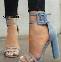 New Fashion Women Open Toe Blue Jean Patchwork PVC Transparent Thick Heel Sandals Ankle Strap Chunky High Heel Buckle Sandals