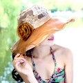 2015 nueva señora caliente verano protección solar playa sombrero iglesia Cap Rose ancho del borde plegable Floral sombrero de sol para mujeres