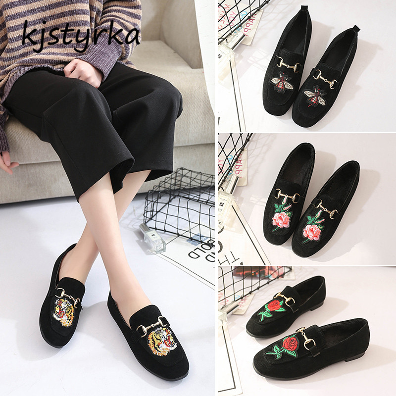 Kjstyrka 2018 Brand designer women mules ladies slides fashion Small bee flower loafers ladies shoes black zapatos mujer все цены