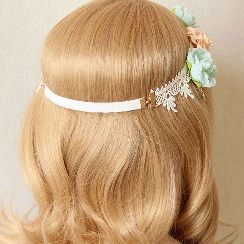 Joyería nupcial para mujer, tocado para la frente, encaje de ganchillo, imitación perla, colgante, corona, Tiara, diadema elástica para boda