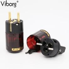 Hi end Выборг P-079E + C079 24 К Позолоченные ЕС Power Plug вилки переменного тока Шнур питания