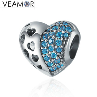 VEAMOR Real 925 Sterling Silver Pave Blue CZ Hollow Hearts Charms Beads Fit Pandora Bracelets DIY