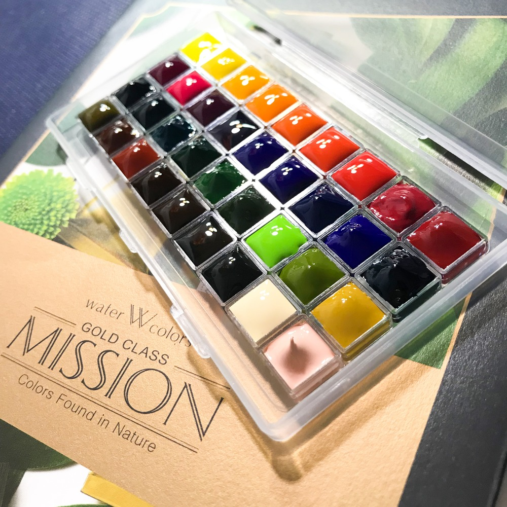 Handmade Mijello Gold 34 Colors Dispensing Watercolor Master High Concentration Pure Golden Mission Natural Pigment Water Color