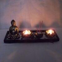 Buddha Statue Zen Garden Sand Meditation Peaceful Relax Decor Set Spiritual Zen Garden Sand Tray Kit Buddhism candle holder