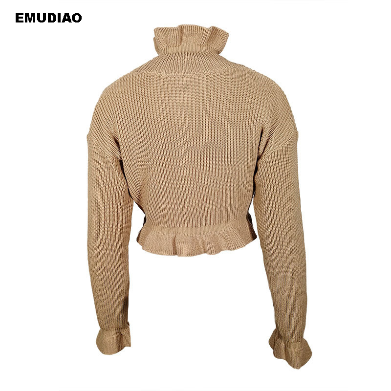 Long Sleeve Autumn Winter Sweater Women Solid Knitted Sweaters Pullover Jumper Fashion 2019 Ruffles Turtleneck Sweater Female in Pullovers from Women 39 s Clothing