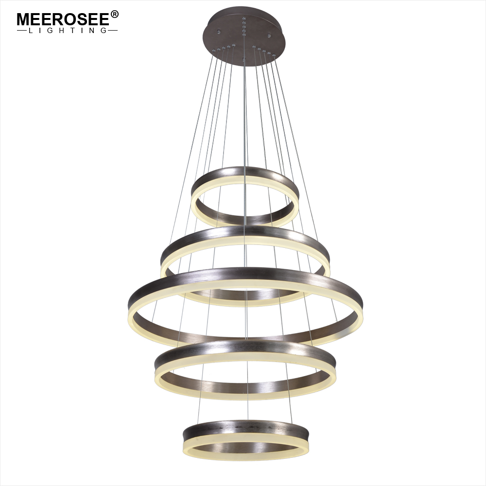 Modern LED Pendant Lights Long Stair 5 Circle Rings Pendant Lamp For Living room Restaurant LED Lustre Hanging Lighting Lustres