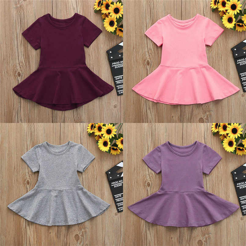 d9868e4dd08e 2018 New Fashion Kids Girls Clothing Baby Girl Candy Color Short Sleeve  Solid Princess Tutu Casual