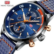 MINI FOCUS Luxury Sports Brand Men Chronograph Military Watches Men's Quartz Watch Leather Clock Male Watch Relogio Masculino недорого