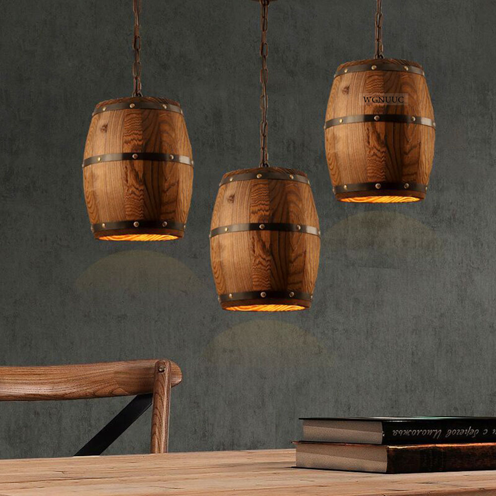 American country loft Pendant Lights Industrial Vintage Wood Barrel Retro LED Pendant Lamp  for Bar Shop Cafe Dining Room Decor loft industrial vintage edison wrought iron metal net led pendant lights lamp for cafe store shop hall dining room bedroom bar