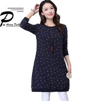Women's Fleece Lining Thicken Warm Jumper Dress Ladies Plus Size Long Sleeve Loose Tunic Lady voguee Crew Neck Leaves Pullover