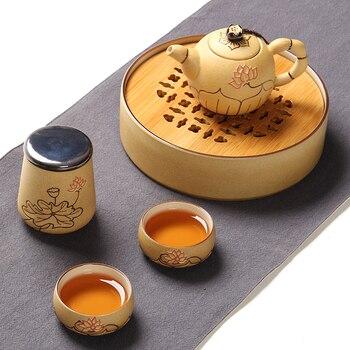 PINNY Hand Painted Lotus  Ceramic Portable Tea Set Vintage Travel Kung Fu Teapots With Bamboo Tea Tray Tea Cup Ceramic Kettle