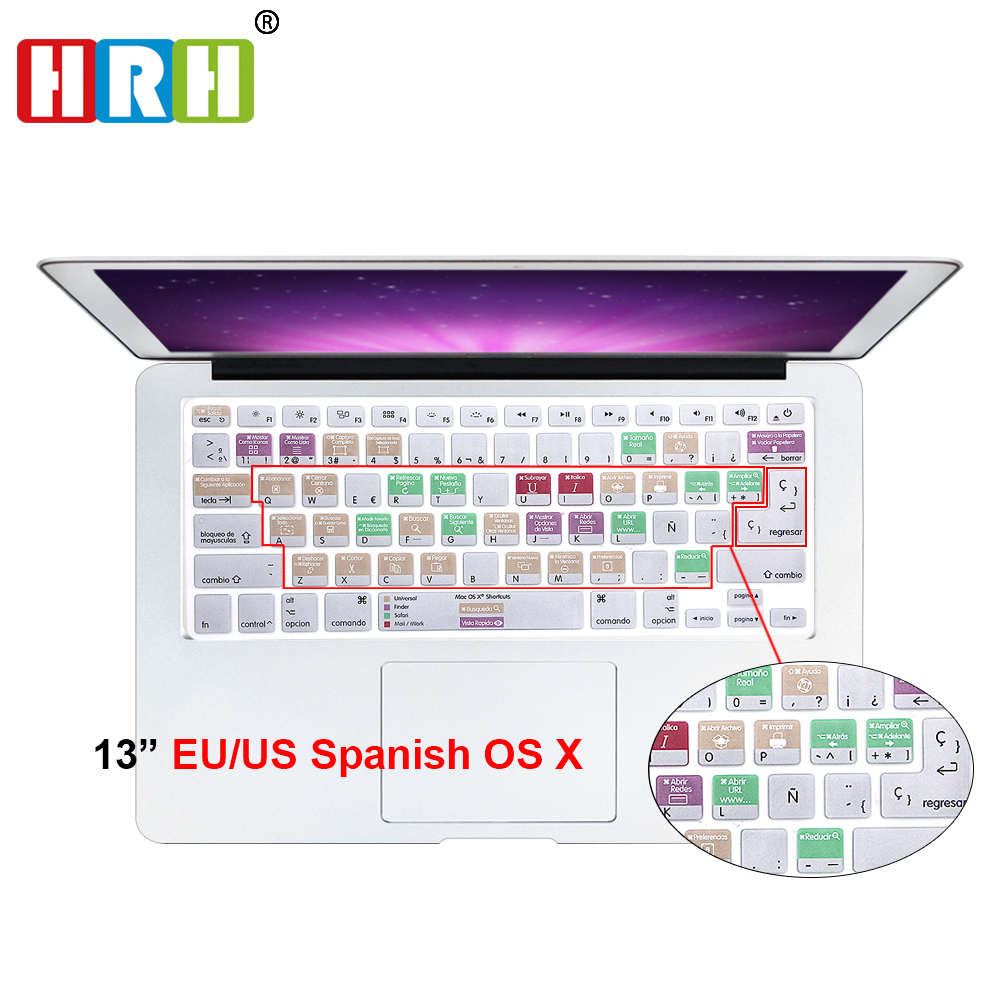 HRH For Mac OS X Spanish Shortcut Hotkey Silicone Keyboard Skin Cover For Macbook Pro Air Retina 13 15 17 US/EU All Before 2016