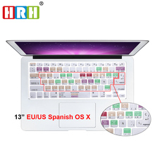 For A1278 Mac OS X Spanish Shortcut Hotkeys Keyboard Screen Skin Cover For Macbook Pro Air Retina 13 15 KC_A1278 US EU layout new for macbook pro 13 a1278 topcase palm rest keyboard backlit us uk euro eu german french danish russian spanish 2011 2012