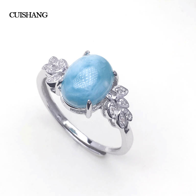 CSJ Larimar Rings fine jewelry Sterling 925 Silver Blue Larimar oval 8*10mm Wedding Engagement Party for Women Lady Girl GiftCSJ Larimar Rings fine jewelry Sterling 925 Silver Blue Larimar oval 8*10mm Wedding Engagement Party for Women Lady Girl Gift