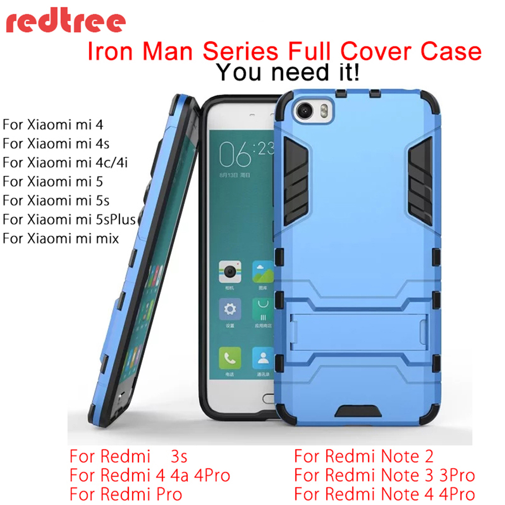 Xiaomi Redmi Note 4x 4 3 Pro Luxury Full Cover Iron Man Case for Xiaomi mi5 mi6 mi5s mi4c Redmi 4X 4A 4 Pro 3s Shockproof Xiomi