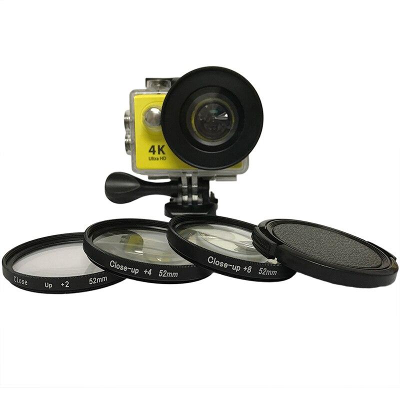 3pcs/lot 52mm Macro Close Up Filter Lens Kit +2/4/8 for Eken Accessories Eken H9 H9R h9pro H9SE  H8PRO H8SE H8 H8R H3 H3R V8S-in Sports Camcorder Cases from Consumer Electronics
