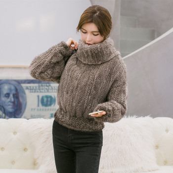 2017 Winter Real Knitted Mink Fur Coat Female short design  Natural Mink Fur Overcoat  BE-1718 Free Shipping 2
