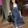 Women summer maternity clothing dress fashion soft denim full dress summer fashion one-piece dress FREE SHIPPING