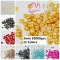 Metade Rodada Pérolas Beads 10000 pcs 3mm Cores #14-#24 Artesanato ABS Resina Gems DIY Nail Ornamento da arte Jóias Pearlized Cabochão