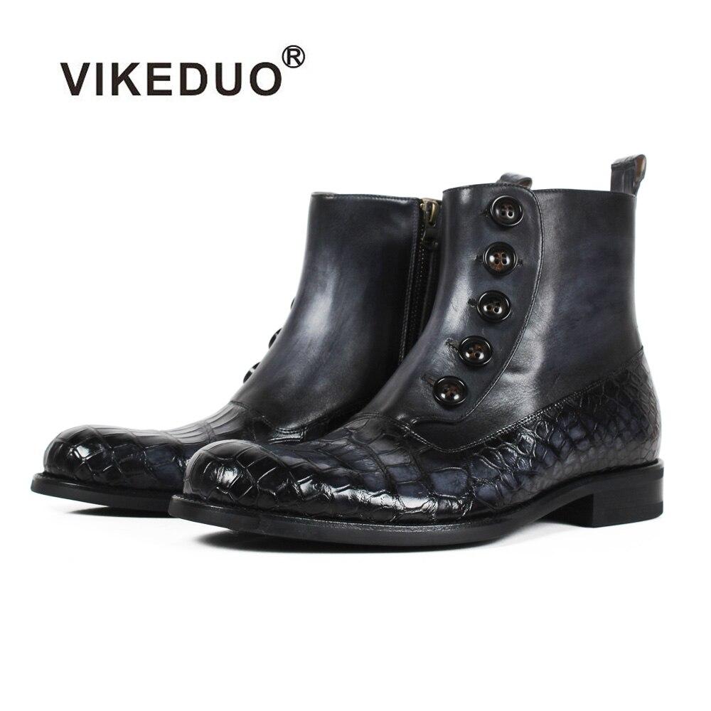 VIKEDUO 2018 New Fashion Plaid Genuine Crocodile Cow Leather Ankle Boots Men Black Bespoke Blake Rubber Sole Wedding Office Shoe цены онлайн