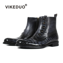 VIKEDUO 2019 New Fashion Plaid Genuine Crocodile Cow Leather Ankle Boots Men Black Bespoke Blake Rubber Sole Wedding Office Shoe