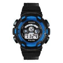 Водонепроницаемый Дети Мальчик Цифровой СВЕТОДИОДНЫЙ Кварцевые Сигнализации Дата Спортивные Наручные Часы Специальный