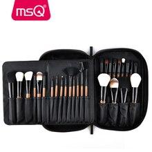 Фотография MSQ 28pcs Makeup Brushes Set Pro Powder Blusher Foundation Eye Shadow Make Up Brushes Cosmetics Brush Kit With PU Leather Case