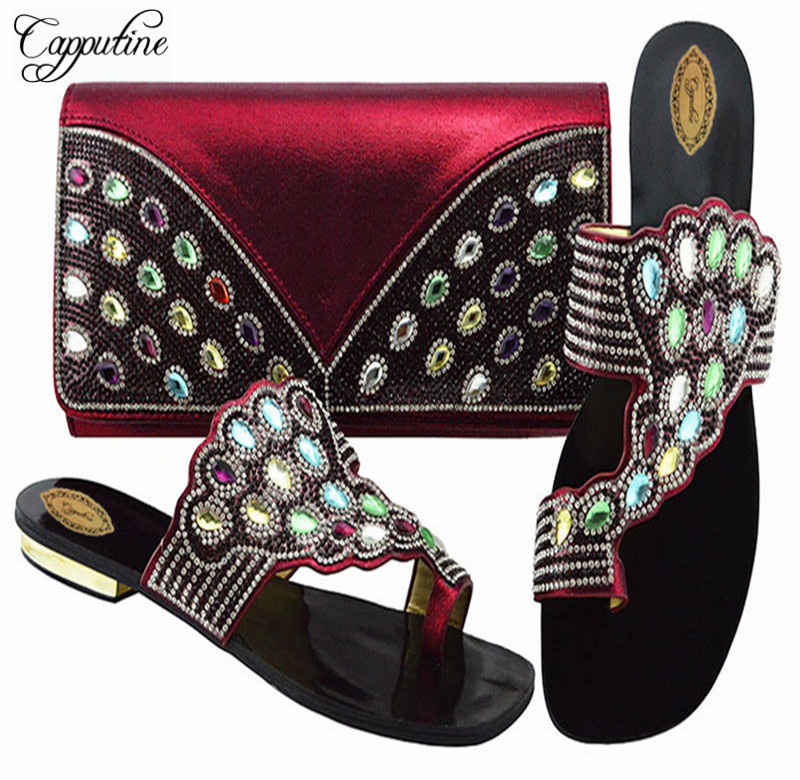 Capputine Italian Shoe With Bags Set For Party In Women African Decorated With Rhinestone Shoes And Bag Set For Wedding Party солгар витамин с 500мг с малиновым вкусом 90 таблетки