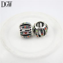 DGW 7 color Silver Plated Czech Drill Rhinestone Beads Charms Big Hole Fit for Bracelet DIY Pandora Fashion Jewelry B2-01-07(China)