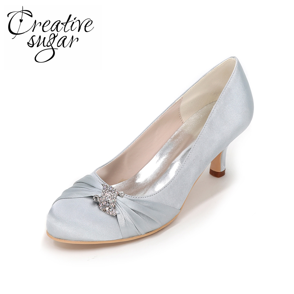 цена на Creativesugar crystal know satin dress shoes medium low heels elegant heels for bridal wedding prom cocktail silver grey purple