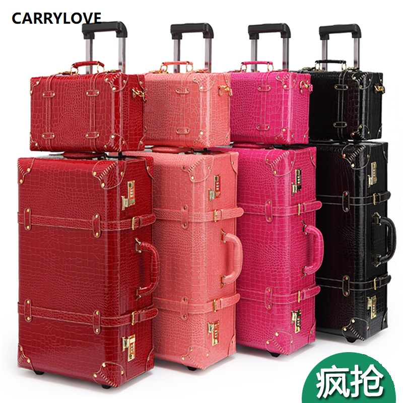 CARRYLOVE Classic Vintage Luggage Series 22/24 Inch PU Handbag And Rolling Luggage Spinner Brand Travel Suitcase