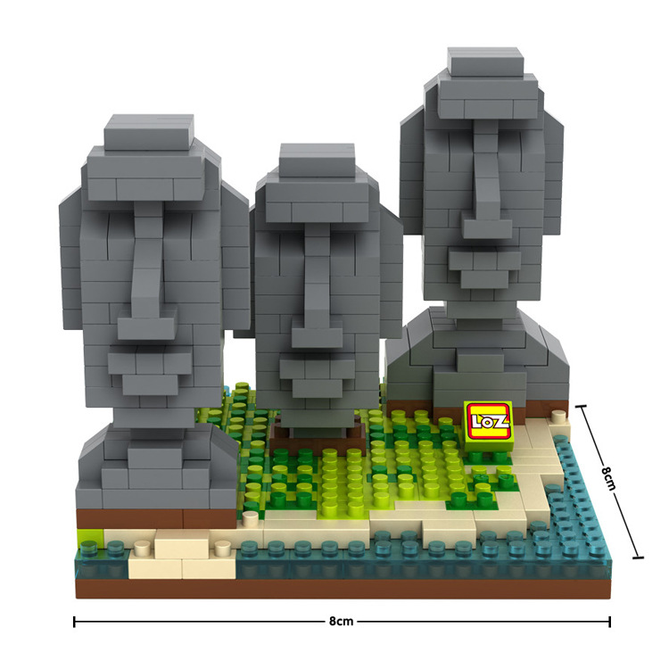 LOZ Famous Architecture series Easter Island 3D Model Diamond Building Blocks Classic Toys for Children Gift