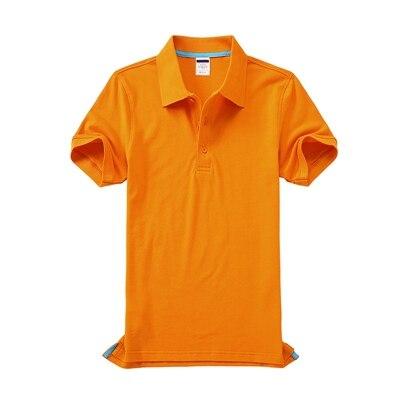 Черные, синие, белые, серые, желтые женские рубашки поло с коротким рукавом, женские повседневные рубашки поло, свободные женские рубашки больших размеров, хлопковые рабочие Топы - Цвет: Оранжевый
