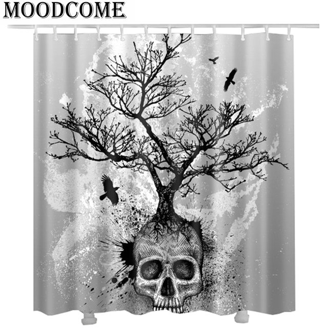 2017 new skull shower curtain cortina de ducha tree eagle shower ...