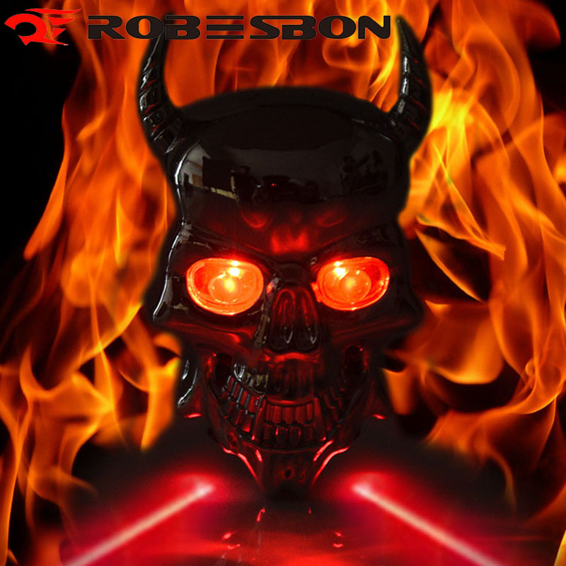ROBESBON Skull Waterproof Rear Bicycle Light Cycling Led Lamp Red Safe Warning Laser Taillight Bike Accessories 7 Modes rear waterproof red