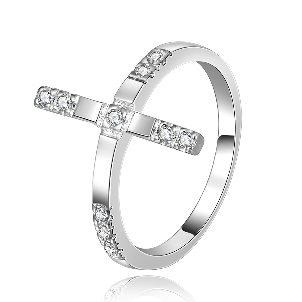 Top quality Silver Plated & Stamped 925 For Women cute cross with white tag crystal stone wedding ring Finger Rings Wholesale