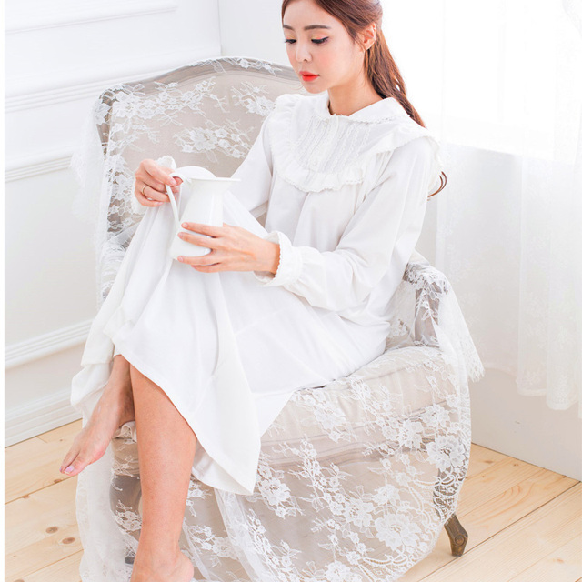 991877b2d2 100% cotton Autumn spring princess women s long nightgown royal sleepwear  vintage pijama lace nightdress nightshirt