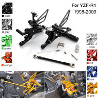 CNC Aluminum Adjustable Rearsets Foot Pegs For Yamaha YZF R1 YZF R1 1998 1999 2000 2001 2002 2003