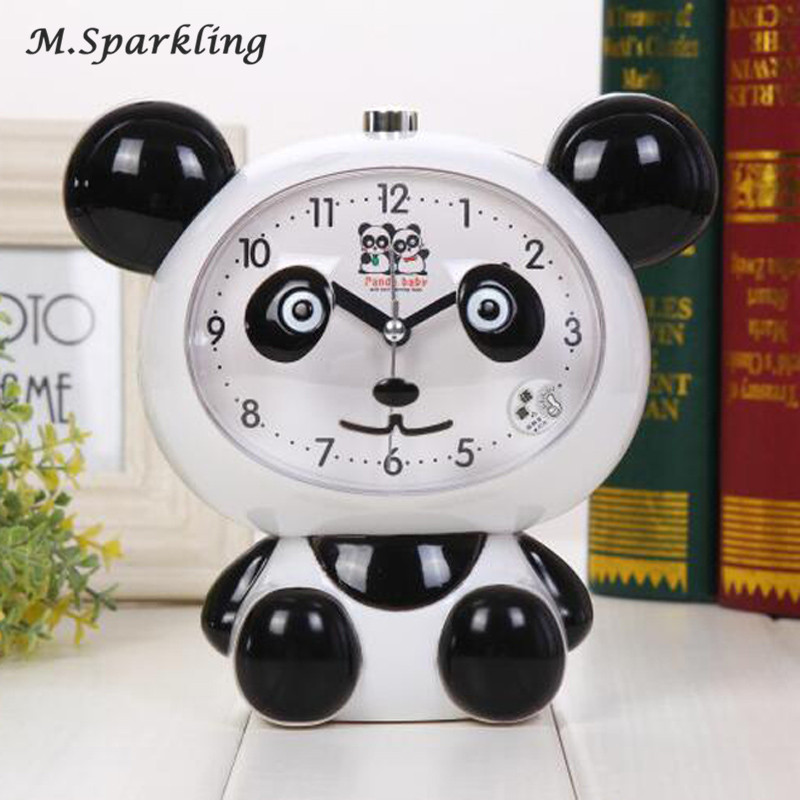M.Sparkling Mute Creative Cartoon Personality Bedside Student Children Alarm Clock Voice Snooze Night Light Cute Panda