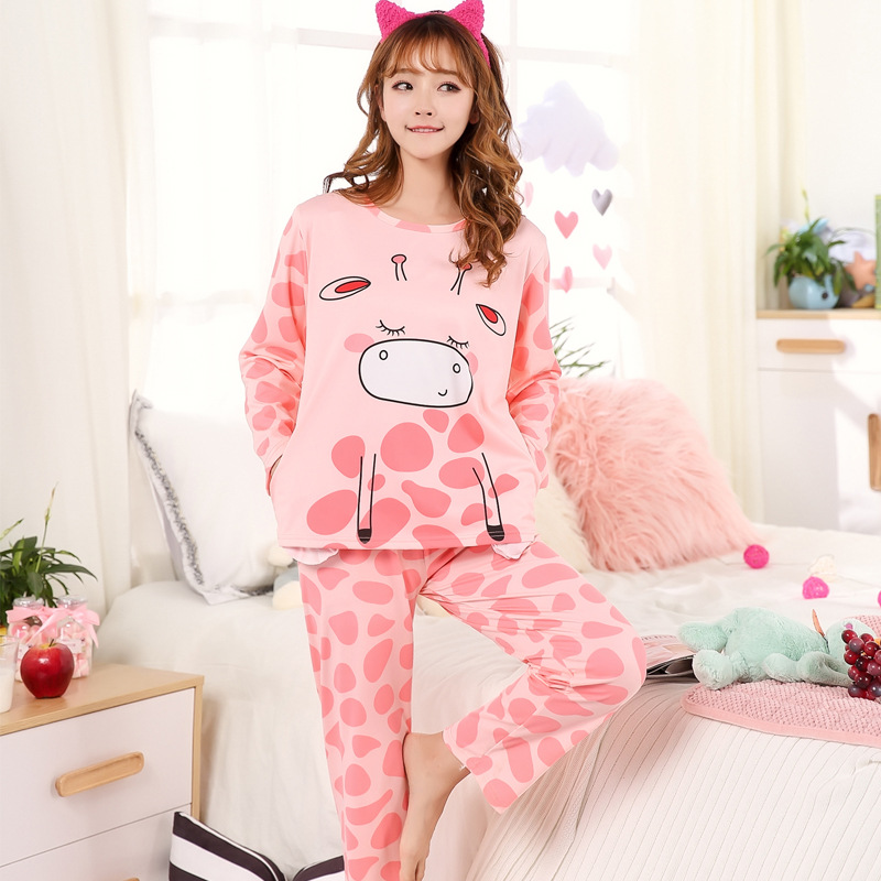 Women   Pajamas     Sets   Cotton Nightwear 2018 Summer Autumn Long Sleeve Pyjamas Shirt and Pants O-Neck Sleepwear Female Pijamas Mujer