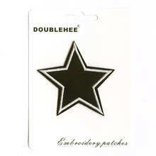 Black White Pentagram Supermarket Gift Card Instruction Patch Embroidered Iron On Patches Cloth Coat Bag Shoes DIY Accessories