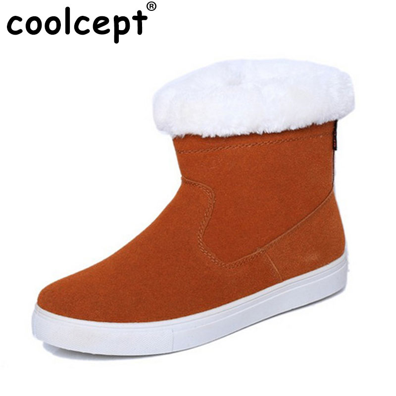Coolcept Size 35-40 Russia Winter Warm Thickened Fur Women Flat Half Short Ankle Snow Boots Cotton Winter Footwear Boot Shoes coolcept size 35 40 ross strap flat mid calf boots women thickened fur winter warm snow half short boot footwear shoes p21267
