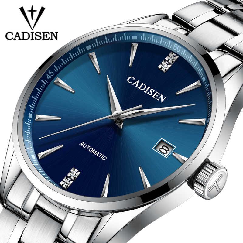 CADISEN Movt Nh35 腕時計メンズブランドドレスファッションステンレス鋼機械式腕時計レロジオ Masculino 5ATM 防水 C1033
