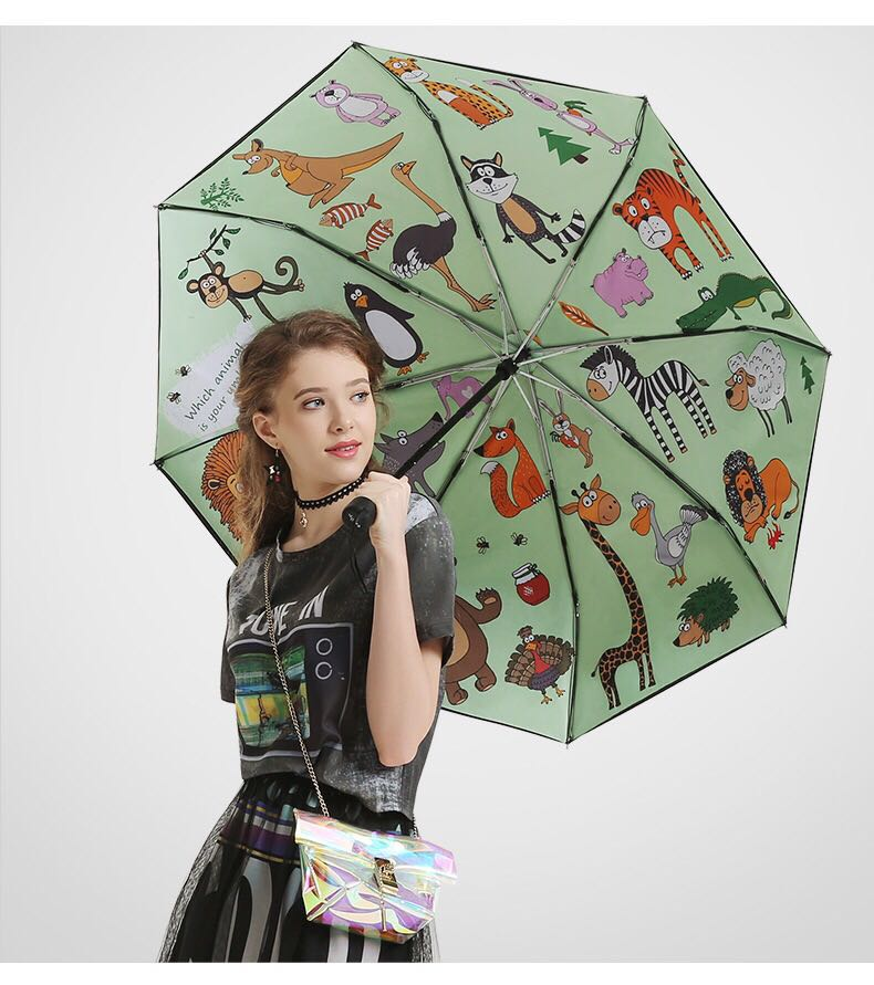 103cm anti-thunder flexible fiberglass windproof 5 times black coating anti-UV three fold parasol heat transfer paper umbrella