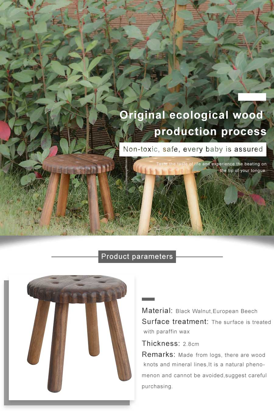 Incredible Pandapark Solid Creative Wood Cookie Shape Stool Black Ibusinesslaw Wood Chair Design Ideas Ibusinesslaworg