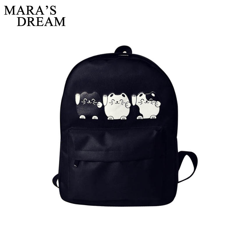 Mara's Dream Cat Printing Backpack Women Bag Canvas Large Capacity Backpack Female Rucksack School Bag Mochila For Teenage Girls 2017 printing owl backpack good quality canvas backpack college school backpack flowers women rucksack backpack mochila t20
