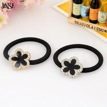 FHS009 Fashion Hair Accessories Beautiful Girl Elastic Ring Flower Shape Inlay Crystal Rhinestone Rope Jewelry