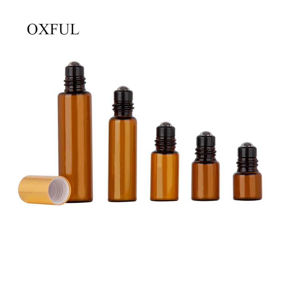 5pcs 1ML 2ML 3ML 5ML 10ML Amber Roll Glass On Roller Bottle With Stainless Steel For Essential Oils Refillable Perfume Bottle
